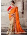 Orange Net And Jacquard Half And Half Saree