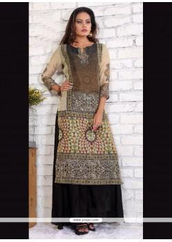 Brilliant Black Silk Designer Kurti