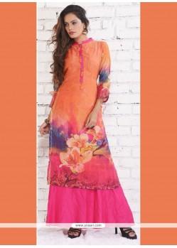 Ethnic Silk Print Work Designer Kurti