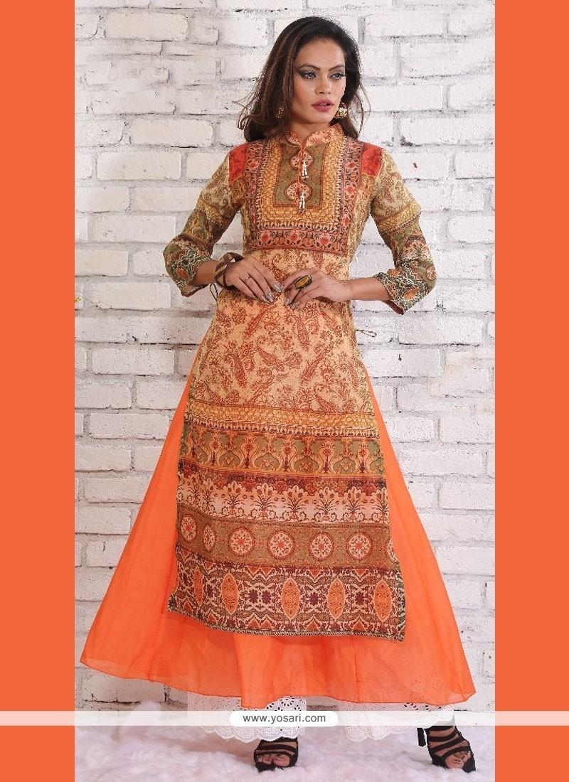 Noble Chanderi Orange Print Work Designer Kurti