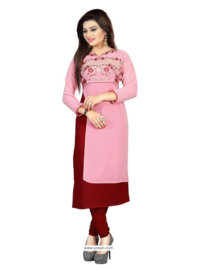 Magnificent Embroidered Work Pink Georgette Party Wear Kurti
