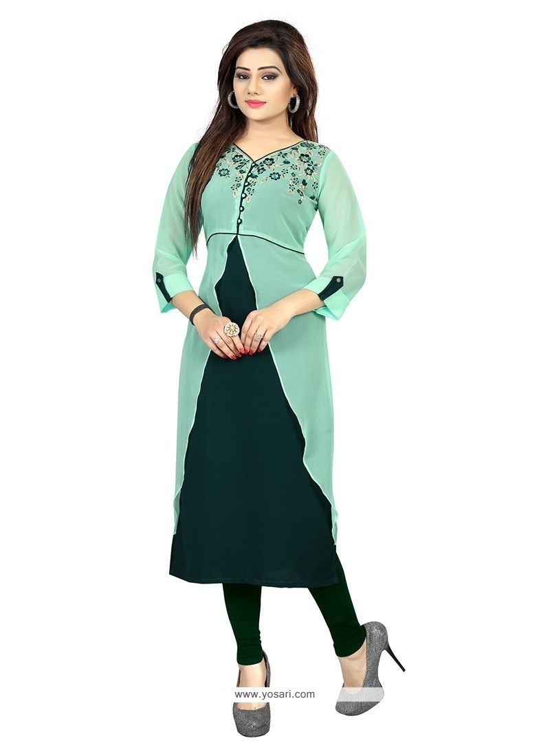 Prime Embroidered Work Green Georgette Party Wear Kurti