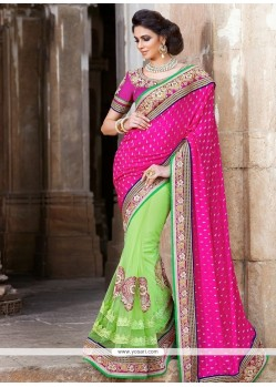 Green And Pink Georgette Saree