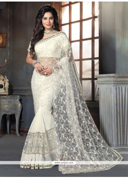 Sophisticated Off White Net Designer Traditional Sarees