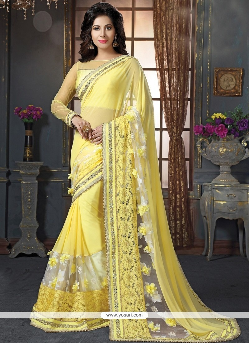 Fabulous Tissue Yellow Patch Border Work Classic Designer Saree
