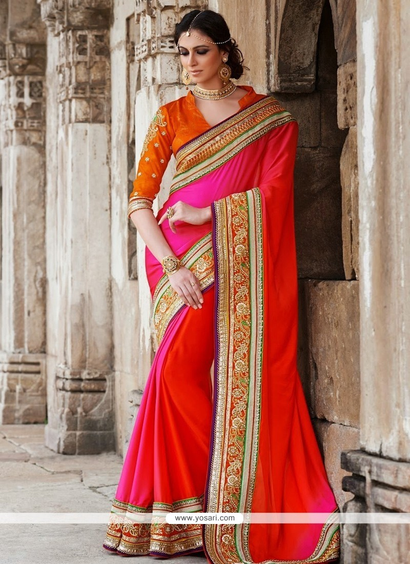 Bedazzling Red And Pink Georgette Saree