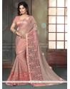 Modish Rose Pink Fancy Fabric Classic Designer Saree