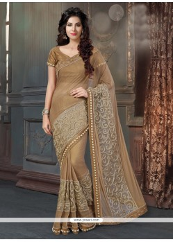 Entrancing Fancy Fabric Brown Patch Border Work Designer Traditional Sarees