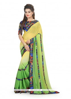 Classy Georgette Green And Yellow Printed Saree