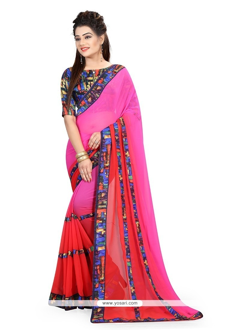 Tantalizing Georgette Hot Pink And Red Patch Border Work Printed Saree