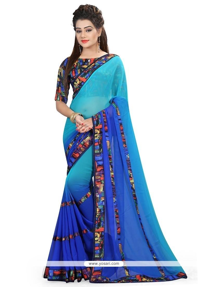 Observable Blue Printed Saree