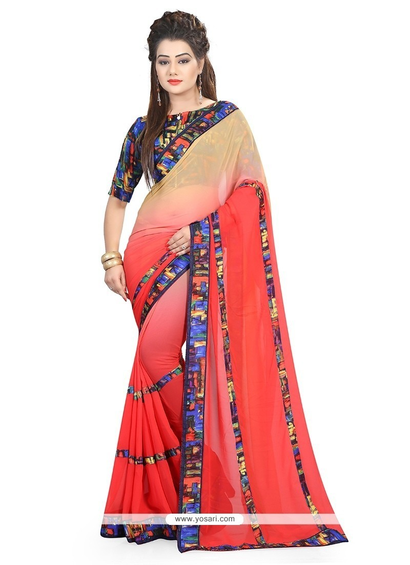 Eye-catchy Georgette Red Patch Border Work Printed Saree