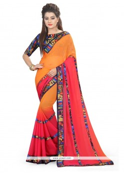 Patch Border Georgette Printed Saree In Orange And Rose Pink