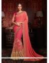 Marvelous Rose Pink Patch Border Work Designer Half N Half Saree