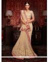 Adorning Beige Embroidered Work Net Designer Half N Half Saree