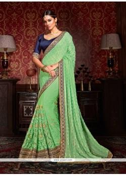 Glamorous Embroidered Work Green Designer Half N Half Saree