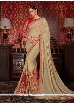 Heavenly Embroidered Work Beige Classic Designer Saree