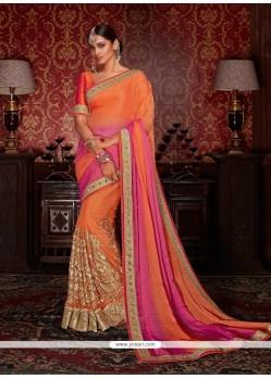 Distinguishable Orange Designer Half N Half Saree