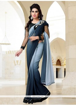 Blue And Grey Shaded Georgette Saree