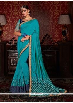 Chic Blue Patch Border Work Faux Crepe Designer Traditional Sarees