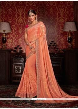 Competent Faux Crepe Orange Designer Half N Half Saree