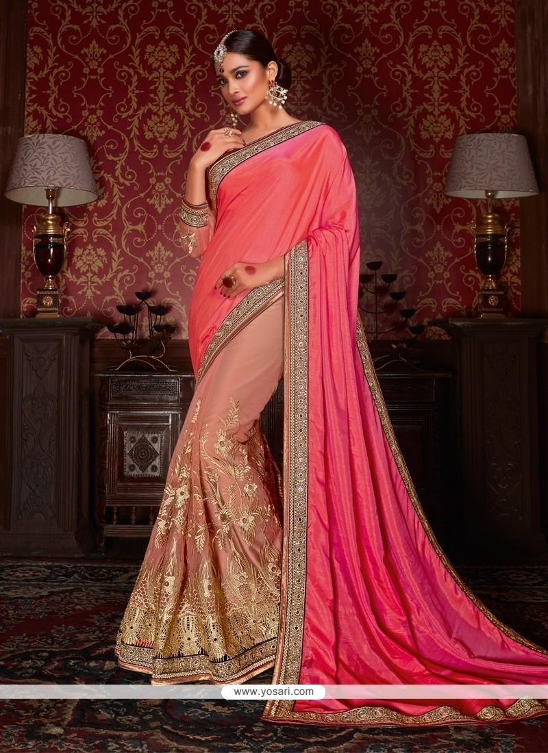 Pleasance Pink Patch Border Work Fancy Fabric Designer Half N Half Saree