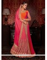 Epitome Silk Hot Pink Designer Half N Half Saree