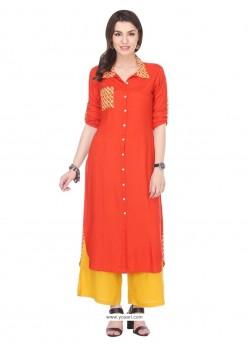 Prime Orange Print Work Rayon Party Wear Kurti