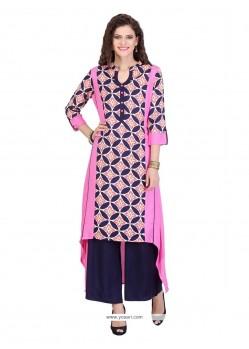 Modish Rayon Pink Print Work Party Wear Kurti