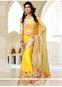 Awesome Yellow Net Saree