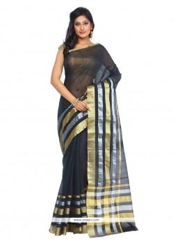 Desirable Black Weaving Work Art Silk Classic Designer Saree