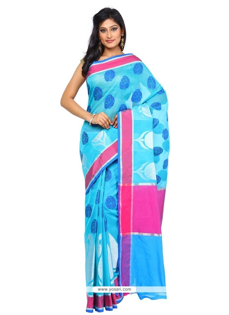 Peppy Blue Classic Saree