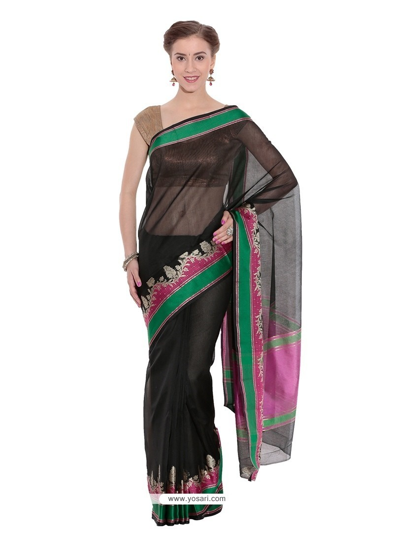 Black Weaving Work Art Silk Traditional Saree