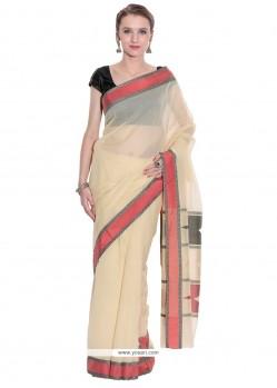 Exquisite Beige Weaving Work Art Silk Classic Designer Saree