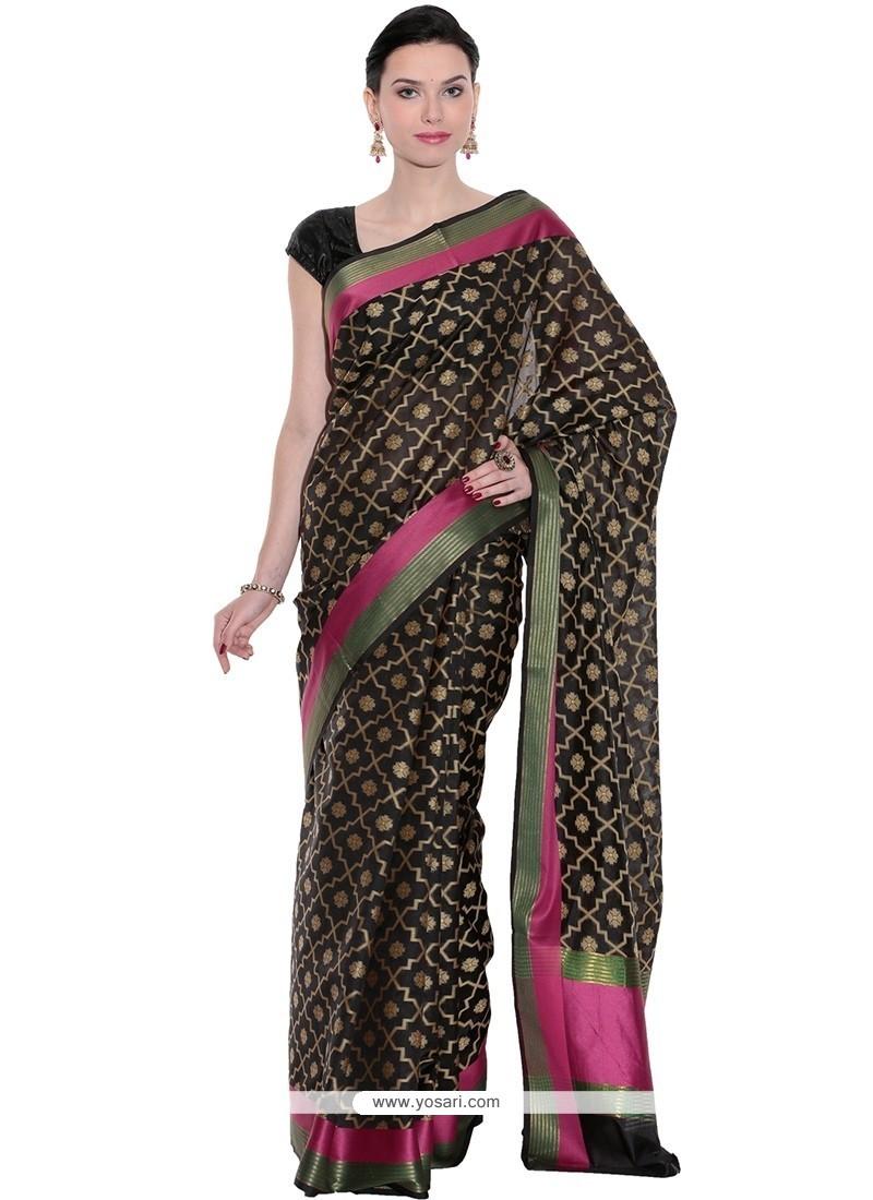 Blissful Art Silk Black Classic Saree
