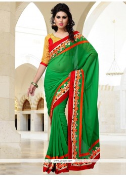 Elite Green Georgette Party Wear Saree