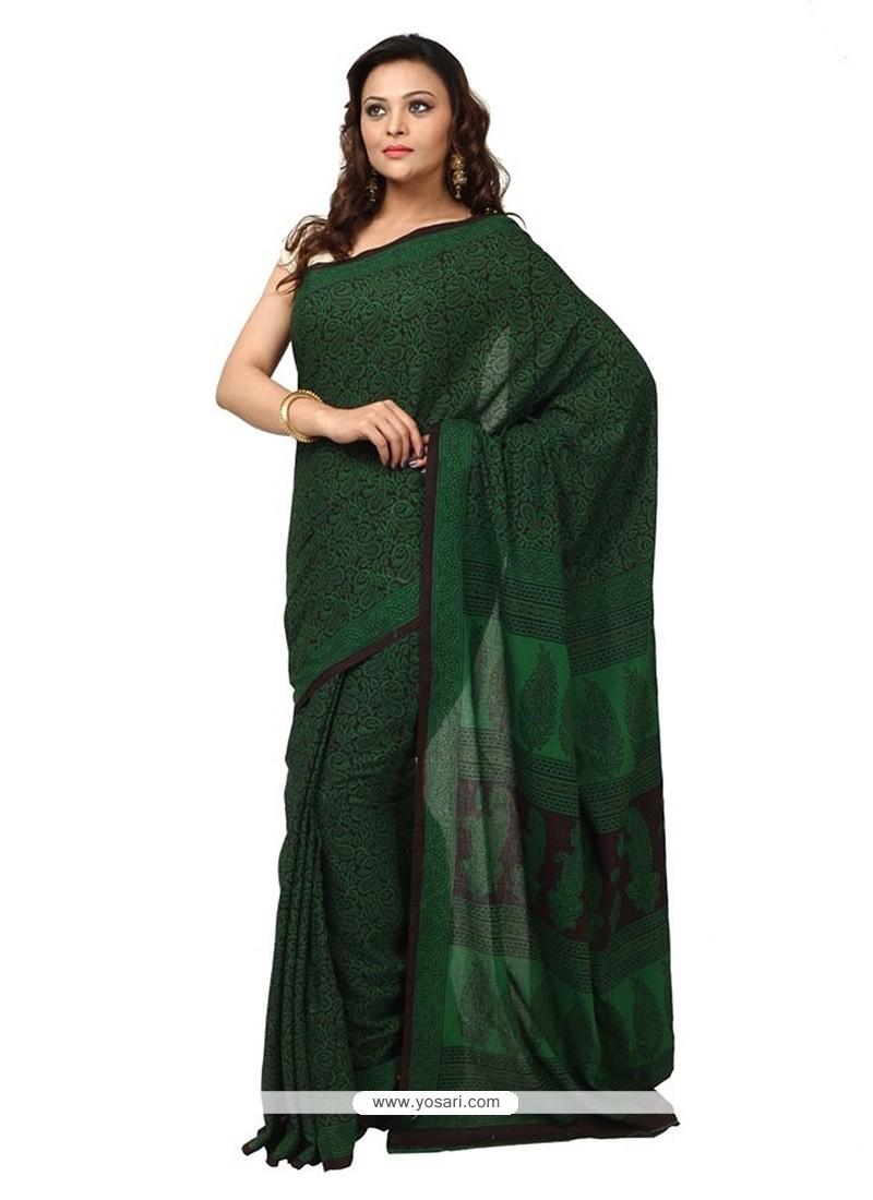 Classical Cotton Green Print Work Classic Designer Saree