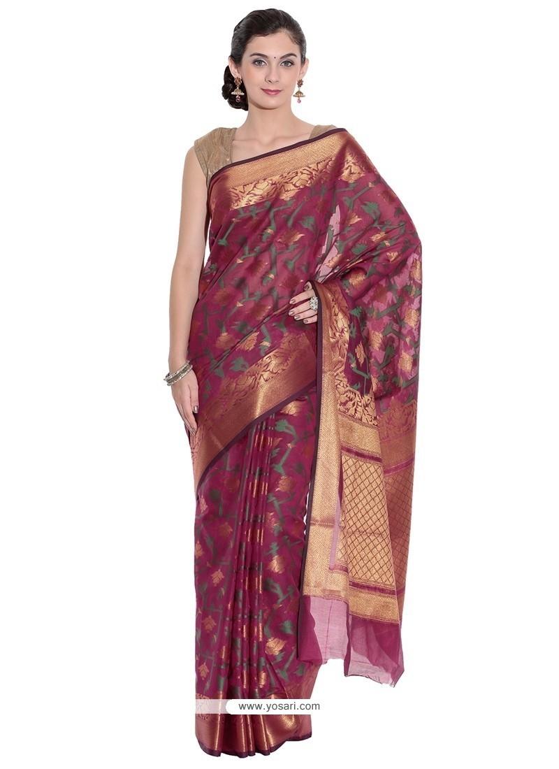 Elegant Magenta Classic Saree