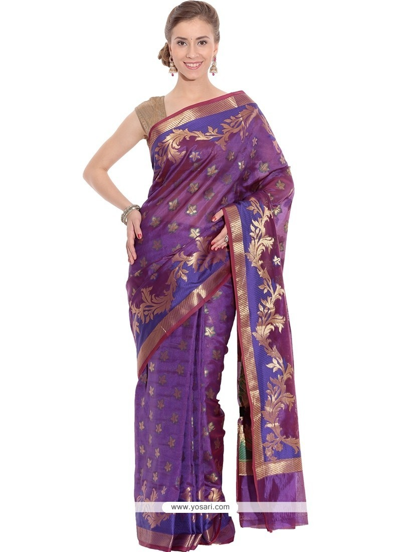 Attractive Purple Art Silk Classic Designer Saree