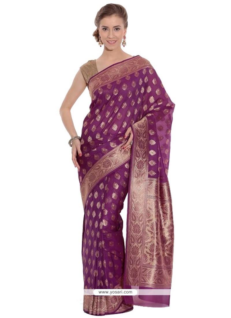 Delectable Magenta Art Silk Traditional Saree