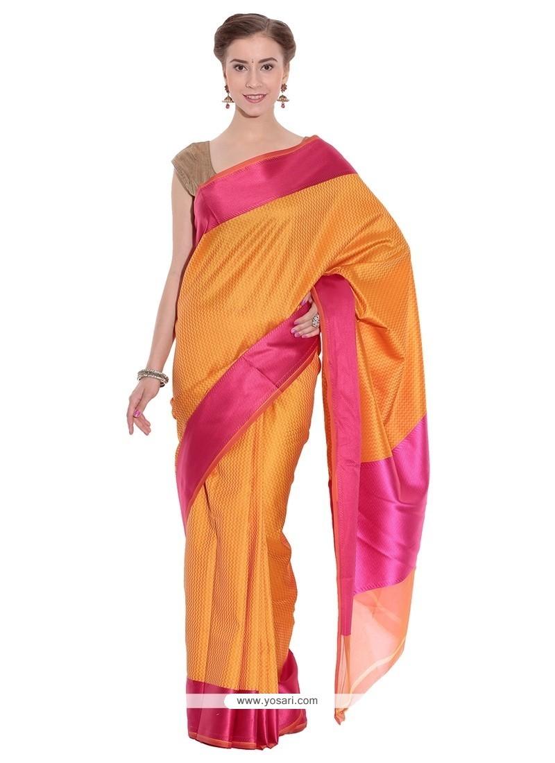 Enchanting Orange Classic Saree