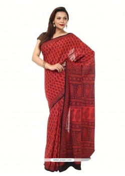 Opulent Maroon Printed Saree