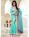 Turquoise Blue Net Casual Saree