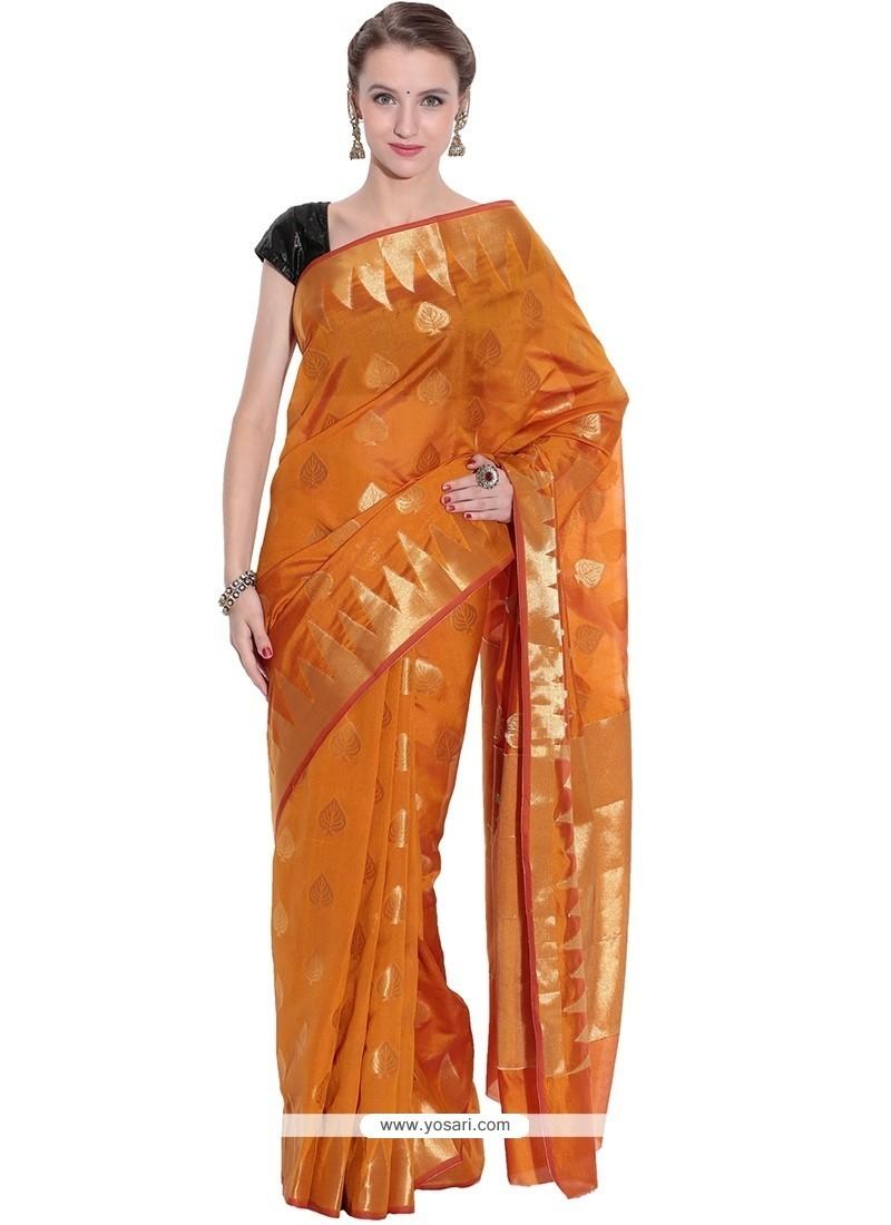 Mystic Weaving Work Orange Art Silk Traditional Saree