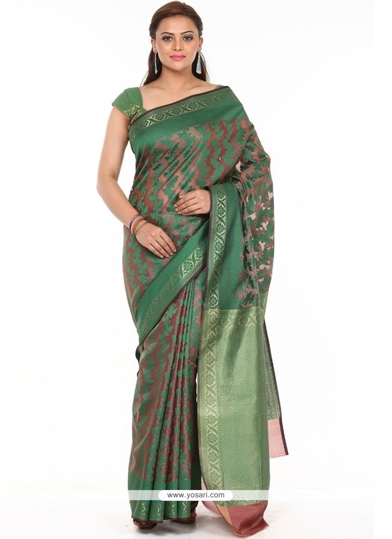 Weaving Art Silk Classic Saree In Green