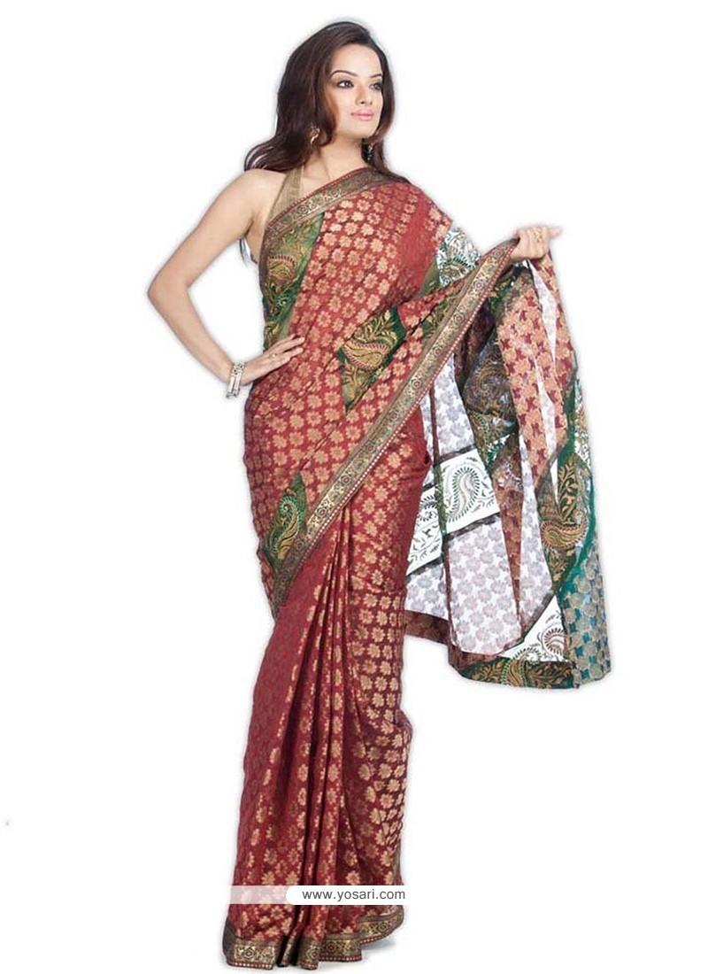 Intricate Weaving Work Multi Colour Classic Saree