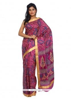 Adorning Tissue Print Work Trendy Saree