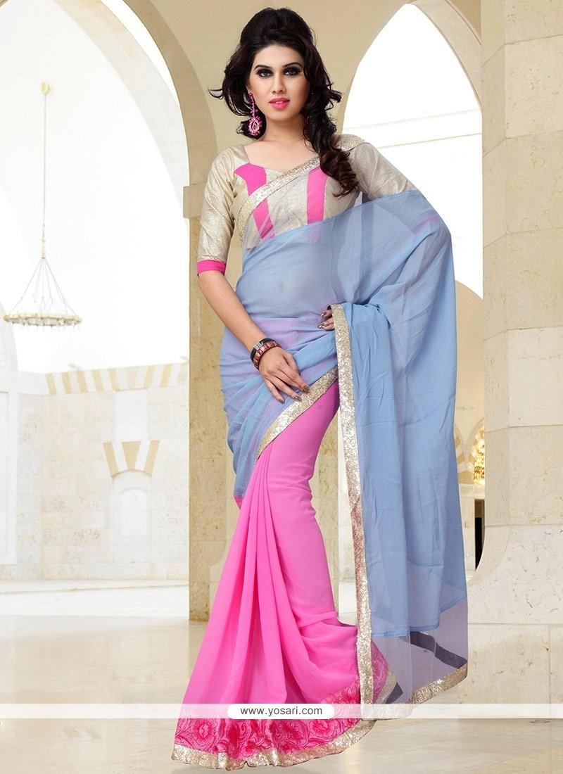 Fab Pink And Blue Georgette Saree