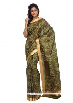 Monumental Print Work Green Classic Saree