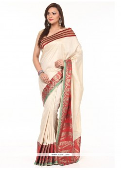 Observable Tissue Beige Weaving Work Traditional Saree